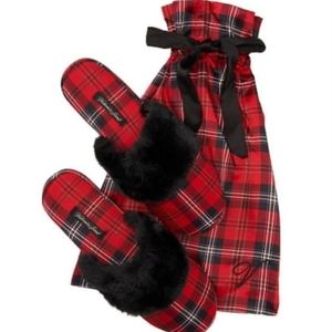 Victoria's Secret Plaid slippers with Satin Bag